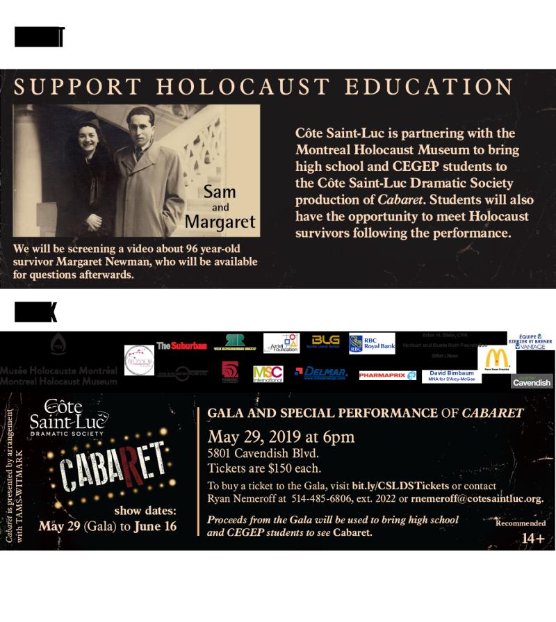 CSLDS Cabaret Yom Hashoah event - Front - Back